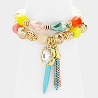2 PCS - Tassel & spike charm beaded stretch bracelets