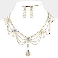 Draped rhinestone necklace with charms