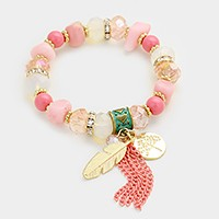 Tree of life & tassel charm beaded stretch bracelet