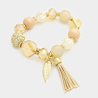 Leaf & tassel charm glass multi-bead strand stretch bracelet