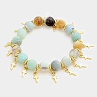 Semi precious stone bead strand stretch bracelet with cross multi-charm