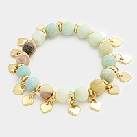 Semi precious stone bead strand stretch bracelet with heart multi-charm