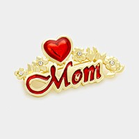 Heart mom brooch