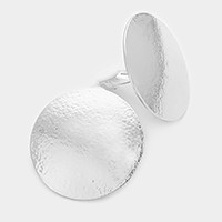 Textured disc clip on earrings