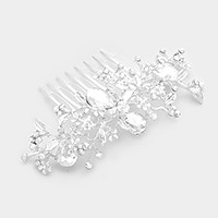 Glass crystal embellished metal vine hair comb