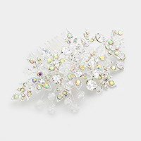 Floral glass crystal & bead hair comb