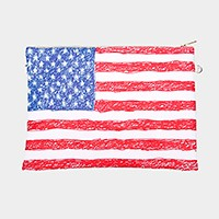 American flag _ Faux saffiano zip clutch bag with strap