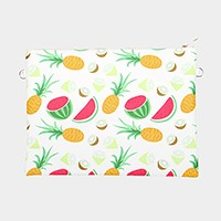 Fruit _ Faux saffiano zip clutch bag with strap