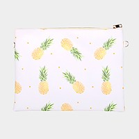 Pineapple _ Faux saffiano zip clutch bag with strap