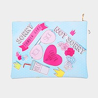 Heart & message _ Faux saffiano zip clutch bag with strap