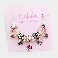 October _ Multi-bead birthstone  heart charm bracelet