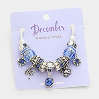 December _ Multi-bead birthstone  heart charm bracelet