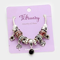 February_ Multi-bead birthstone  charm bracelet