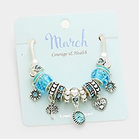 March _ Multi-bead birthstone  heart charm bracelet