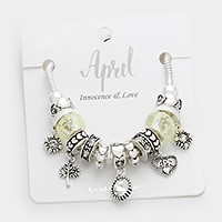 April _ Multi-bead birthstone  heart charm bracelet
