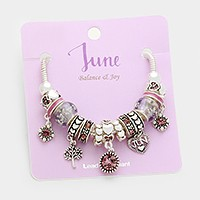 June _ Multi-bead birthstone  heart charm bracelet