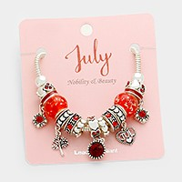 July _ Multi-bead birthstone heart charm bracelet