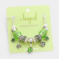 August _ Multi-bead birthstone heart charm bracelet