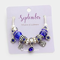 September _ Multi-birthstone  month heart charm bracelet