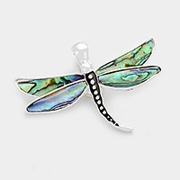 Magnetic abalone dragonfly pendant