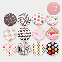 12PCS - Assorted pattern compact mirrors