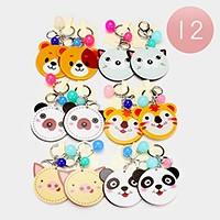 12 PCS - Animal mirror keychains