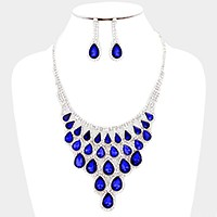 Glass crystal teardrop bib necklace