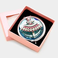 Glass jeweled girl compact mirror with gift box