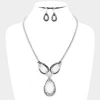 Filigree teardrop hoop pendant necklace