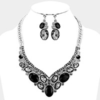 Oval Glass Crystal Necklace