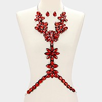 Felt back glass crystal flower body chain necklace