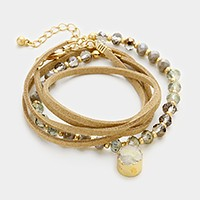 Raw druzy charm beaded faux suede wrap bracelet / necklace