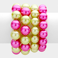 4 PCS - Pearl strand stack stretch bracelets