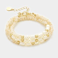 Freshwater pearl & glass bead strand wrap bracelet / necklace