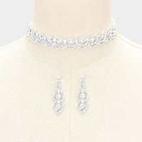 Rhinestone lace choker necklace