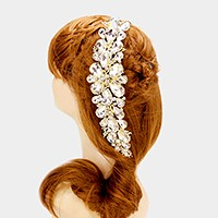 Glass crystal flower vine hair comb