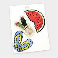 Embroidered watermelon & flip flops patch set