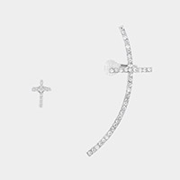 Pave cross ear cuff + stud earring