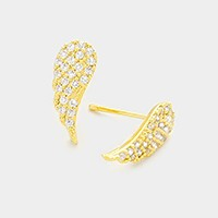 CZ wing stud earrings