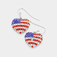 Pave American flag heart earrings