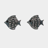 Pave fish stud earrings