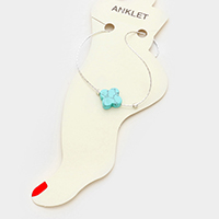 Turquoise clover anklet