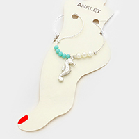 Seahorse charm anklet
