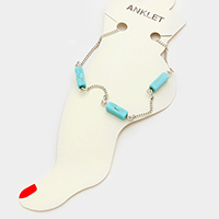 Triple turquoise square bead anklet