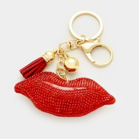 Pave lips keychain with tassel
