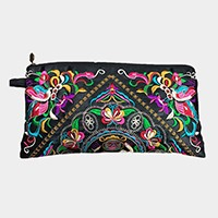 Embroidered oriental flower satin wristlet clutch bag with tassel