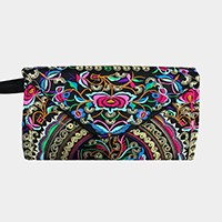 Embroidered oriental flower envelope wristlet clutch bag