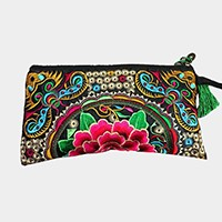 Embroidered oriental flower wristlet clutch bag with tassel