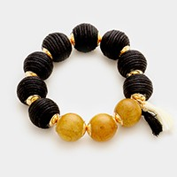 Thread Wood Balls Tassel Stretch Bracelet