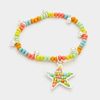 Starfish charm beaded stretch bracelet